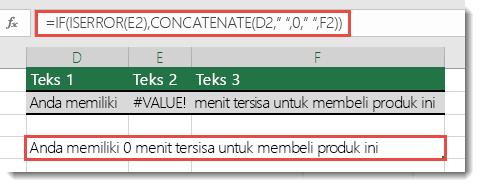 Fungsi IF dan ISERROR digunakan sebagai solusi untuk menggabungkan string dengan kesalahan #VALUE!