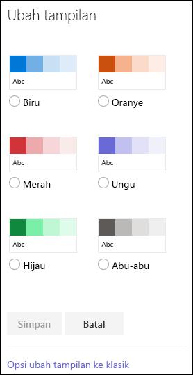 Cuplikan layar memperlihatkan opsi warna SharePoint untuk mengubah tampilan situs.