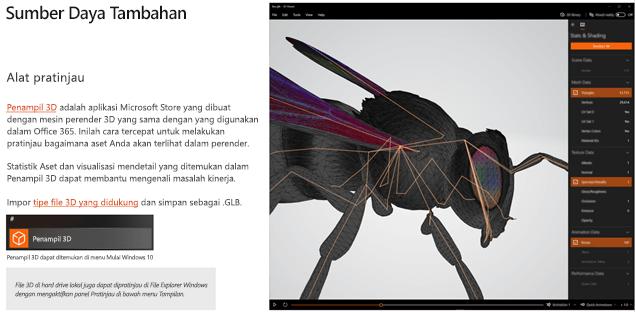 Cuplikan layar dari bagian sumber daya tambahan dari panduan konten 3D