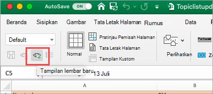 Memperlihatkan Excel Bentang