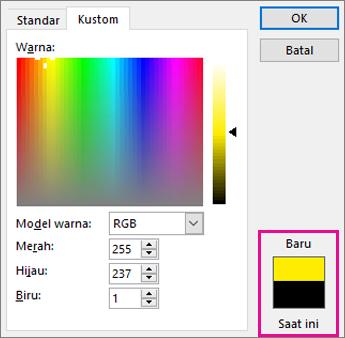 Bandingkan pilihan warna baru dan warna saat ini