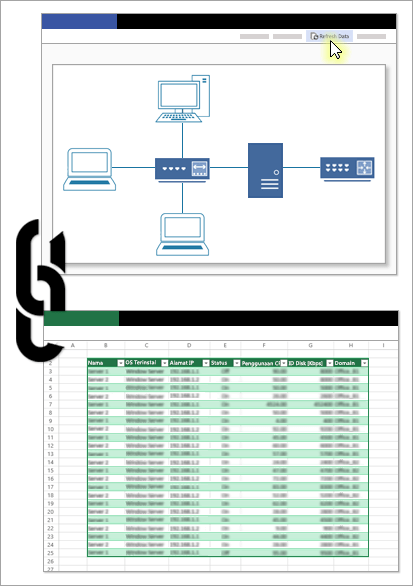 Gambar konseptual memperlihatkan tautan antara file Visio dan sumber datanya.