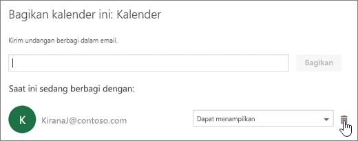 Cuplikan layar dialog Bagikan kalender ini.