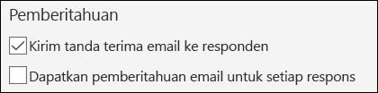 Opsi untuk mengirim pemberitahuan email ke formulir responden di Microsoft Forms