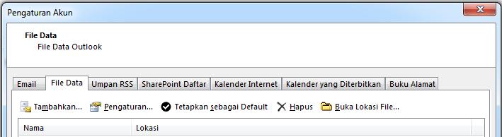 Tab File Data memperlihatkan semua akun Anda.