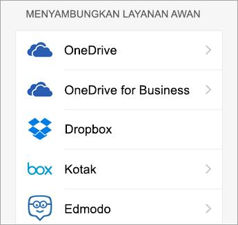 Pilih layanan awan yang ingin Anda tambahkan.