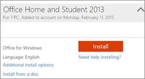 Cuplikan layar Penginstalan dan tautan untuk Opsi penginstalan tambahan