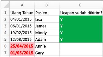 Contoh Pemformatan Bersyarat dengan tanggal lahir, nama, dan kolom terkirim