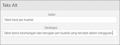 Teks Alt dialog untuk tabel di PowerPoint Mobile untuk Windows Phone.