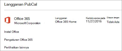 Jika uji coba Office 365 Anda diinstal di PC baru, uji coba akan berakhir pada tanggal yang terlihat