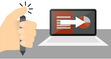 Tangan memegang dan mengklik bagian atas pena di samping layar laptop yang menampilkan peragaan slide