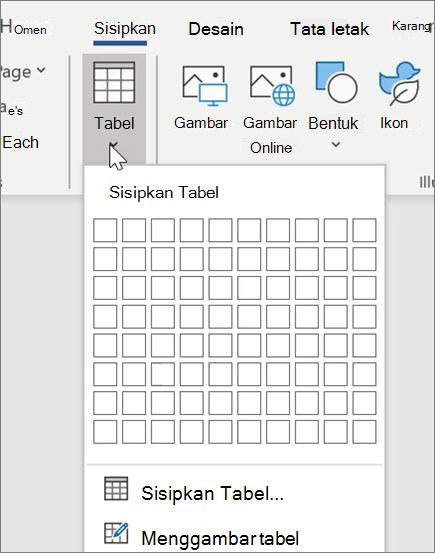 Menyisipkan tabel di Word