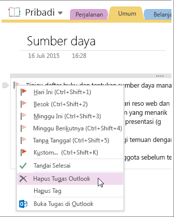 Cuplikan layar cara menghapus tugas Outlook di OneNote 2016.