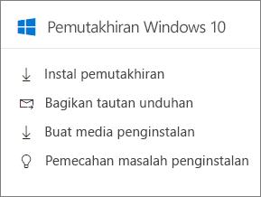 Windows 10 memutakhirkan kartu di pusat admin.