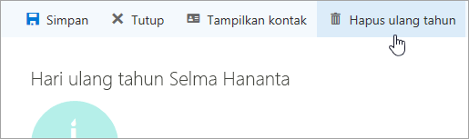 Cuplikan layar tombol Hapus ulang tahun