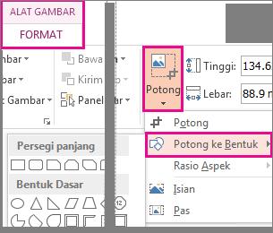 Perintah potong ke bentuk membuka galeri Bentuk dari tab Format Alat Gambar
