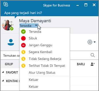 Cuplikan layar jendela Skype for Business dengan menu Status yang terbuka.