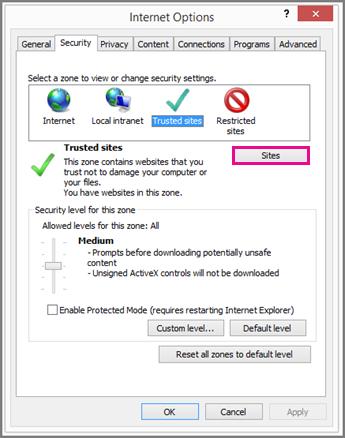 Di Opsi Internet, pada tab Keamanan, pilih Situs
