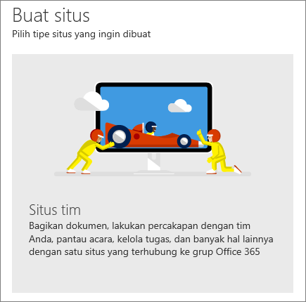 Buat situs di Office 365 SharePoint