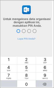 Masukkan PIN di perangkat IOS Anda untuk mengakses aplikasi Office.