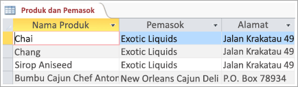 Cuplikan layar data produk dan pemasok