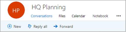 Ini adalah apa yang terlihat seperti header grup di Outlook di web