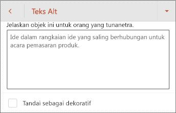 Dialog teks Alt untuk sebuah bentuk di PowerPoint untuk Android.