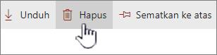 Ikon Hapus dan link disorot pada bilah link atas
