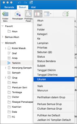 Mengurutkan pesan Anda dengan cara berbeda dengan mengklik tata > susun menurut > dan memilih dari daftar opsi