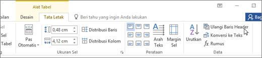 Cuplikan layar memperlihatkan kursor mengarah ke opsi untuk ulangi baris Header di alat tabel pada tab tata letak dalam grup Data.