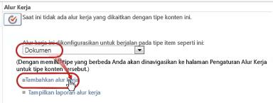 Perintah Tambahkan alur kerja dengan tipe konten Dokumen dipilih