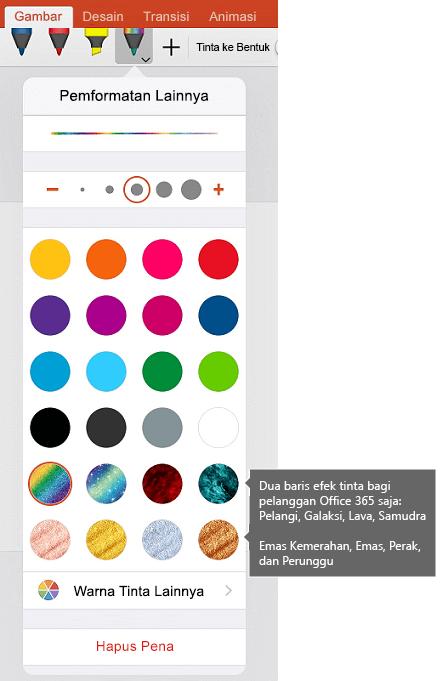 Tinta warna dan efek untuk gambar dengan tinta di Office di iOS