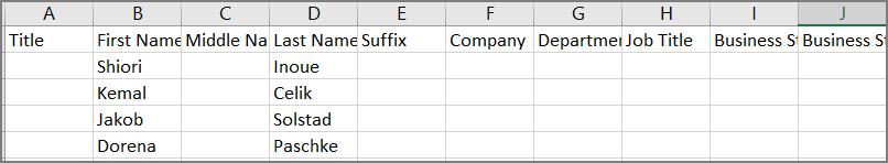 Contoh tampilan file csv setelah kontak diekspor dari Outlook