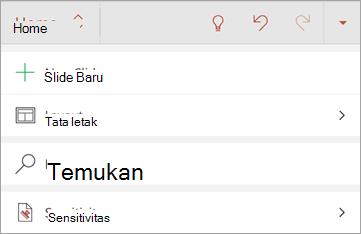 Cuplikan layar tombol sensitivitas di Office untuk Android