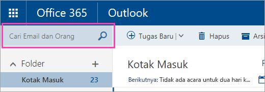 Cuplikan layar kotak Cari email dan orang-orang