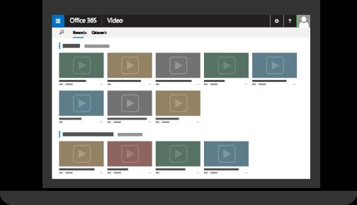 Office 365 Video dengan beberapa video diunggah