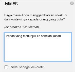 Dialog Excel 365 menulis teks Alt untuk bentuk