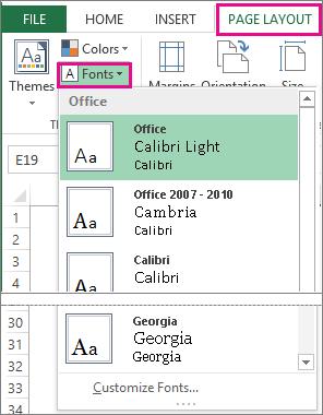 Galeri font pada tab tata letak halaman