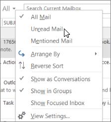 Cuplikan layar memperlihatkan opsi email belum dibaca yang dipilih dari menu turun bawah semua pada pita kotak masuk.