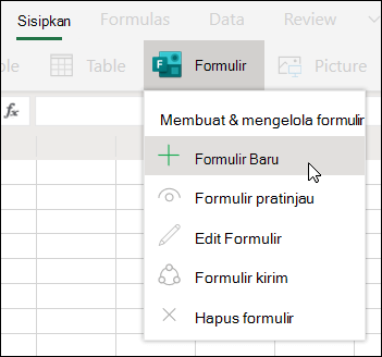 Opsi sisipkan formulir baru di Excel untuk web