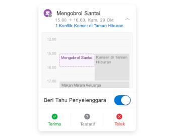 Undangan rapat dengan kalender mini di bagian atas, bagian komentar di tengah, dan tombol balas di bagian bawah