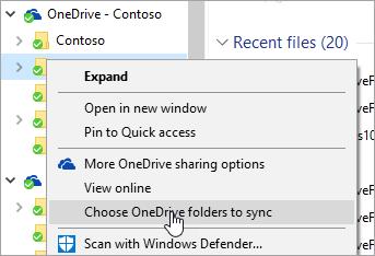 Cuplikan layar menu klik kanan di File Explorer dengan 'Pilih folder OneDrive untuk disinkronkan' dipilih.