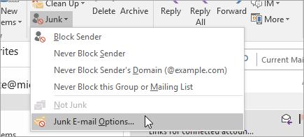 Cuplikan layar tombol opsi email sampah
