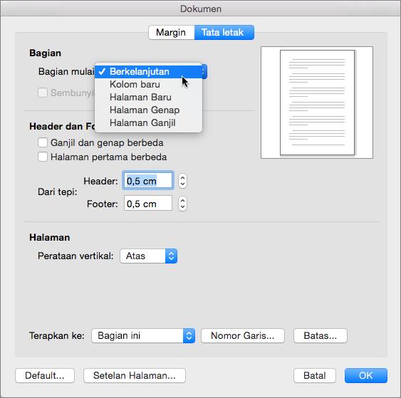Kotak dialog dokumen berisi pengaturan untuk mengelola bagian, header & footer
