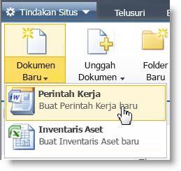 Tipe konten ditampilkan pada menu Baru untuk Daftar atau Pustaka.