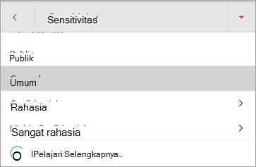 Cuplikan layar label sensitivitas di Office untuk Android