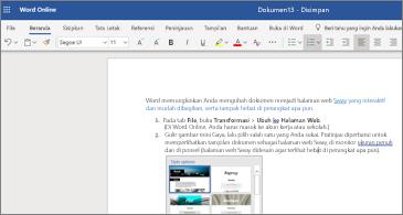 Dokumen dengan gambar di Word online