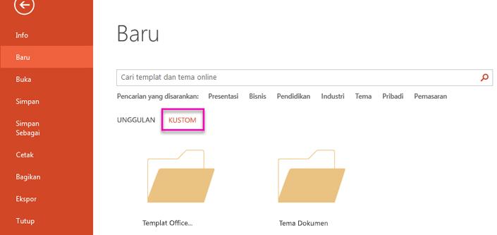 Pada halaman File baru, pilih kustom untuk mengakses Templat yang Anda buat.