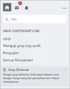Daftar grup Yammer pada halaman Yammer
