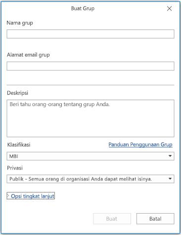 Halaman informasi Grup Baru di Outlook